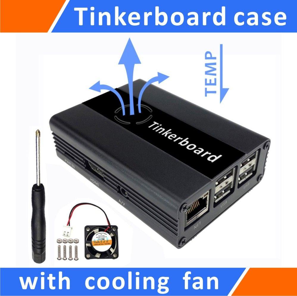 Tinker conseil Cas En Aluminium Avec Ventilateur Noir pour ASUS SBC