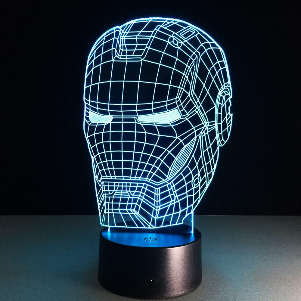 Ironman figurine d'action 3D LED veilleuse fer homme marque coloré USB LED lampe de Table acrylique éclairage décoration