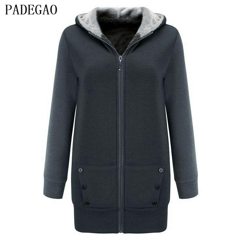 PADEGAO dark gray fleece jacket coat hooded cardigan women plus size casual coats autumn winter cotton button zipper up jackets