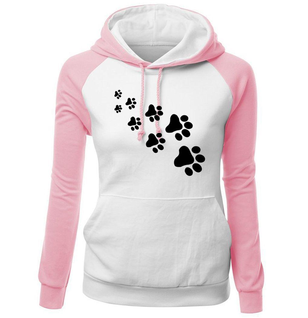 2017 Autumn Winter Fleece Women's Sportswear Harajuku Print CAT PAWS Cartoon Kawaii K-pop Clothing Streetwear Hoodies Sweatshirt