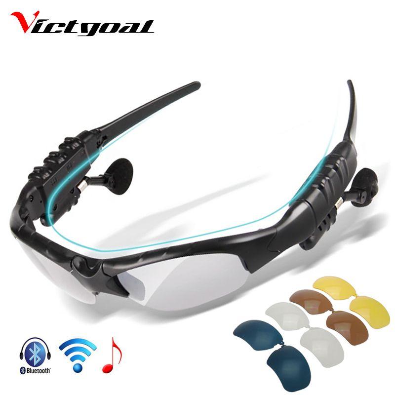 VICTGOAL Polarisées Vélo Lunettes Bluetooth Hommes Moto lunettes de Soleil MP3 Téléphone Vélo Sport En Plein Air 5 Len Lunettes de Soleil