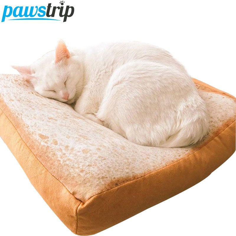 Pawstrip pain Toast chat lit tapis doux polaire chiot coussin amovible lavage petit chien lit pour Chihuahua 37*37*6.5cm