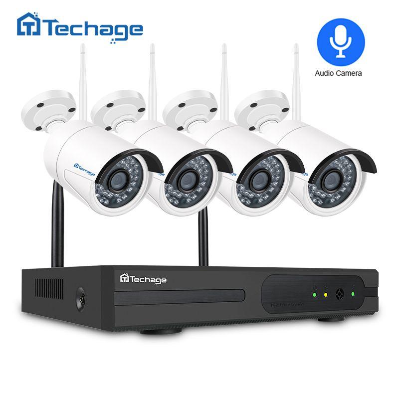 Techage Home Security 1080P Wifi CCTV System 4CH Wireless NVR Kit 2MP Audio Sound Wifi Camera P2P Video Surveillance System Set