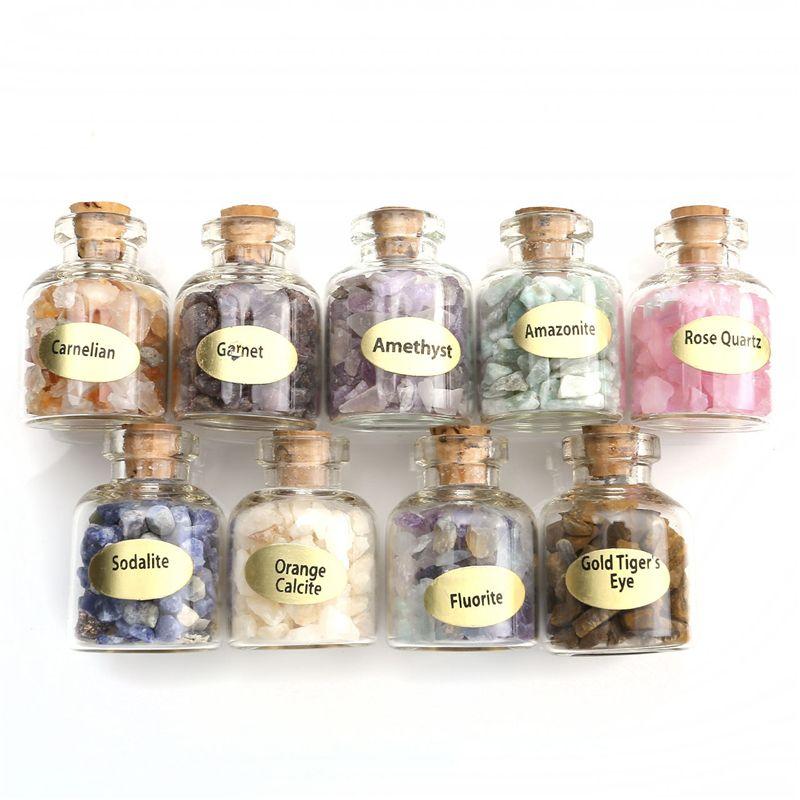 Sunligoo 9 bouteilles Mini naturel semi-précieuse pierre gemme puce cristal guérison dégringolé Reiki Wicca voyage pierres naturelles décoration