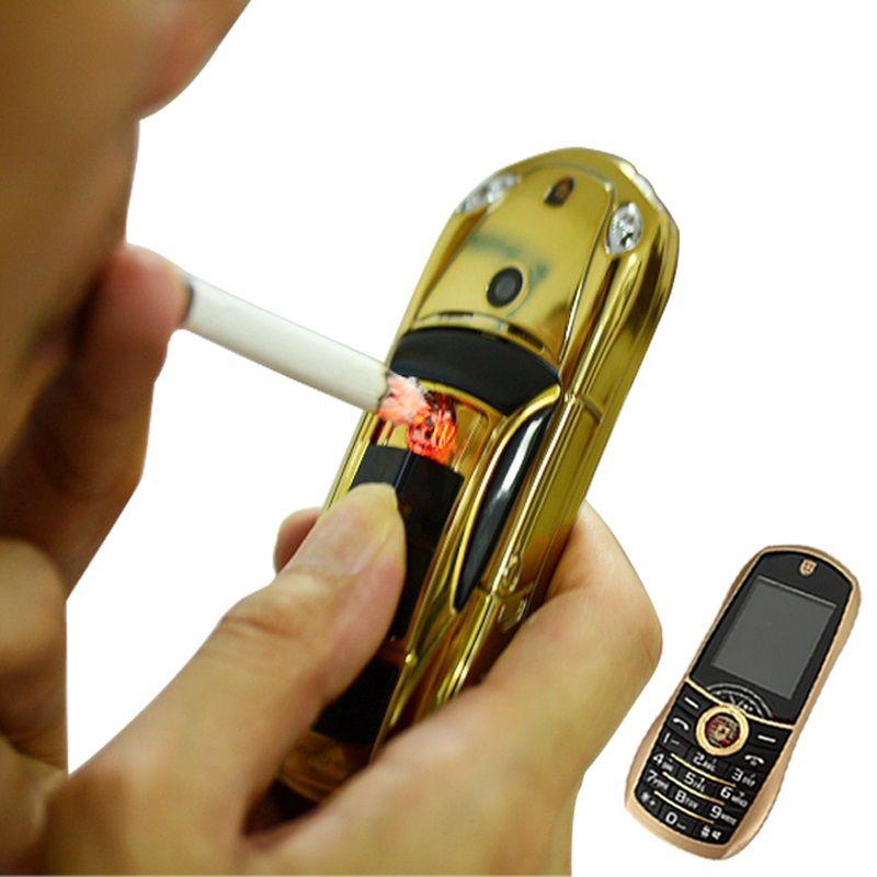 Barre Mini voiture forme téléphone portable Mobile avec allume-cigare électronique Facebook GPRS cellule petite taille double Sim lampe de poche P499