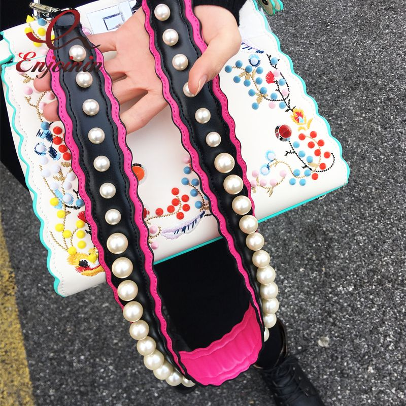 New Design Luxurious Pearl Style Stitching Colors Pu Leather Women's Shoulder Bags Tote Strap Bag Parts & Accessories 4 Colors