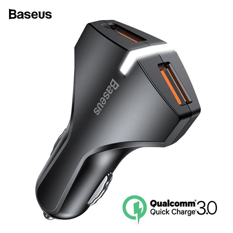 Baseus Charge Rapide 3.0 Double USB Voiture Chargeur 5V3A QC QC3.0 Turbo Rapide Voiture De Charge Mobile Téléphone Chargeur Pour iPhone xs Max Xiaomi