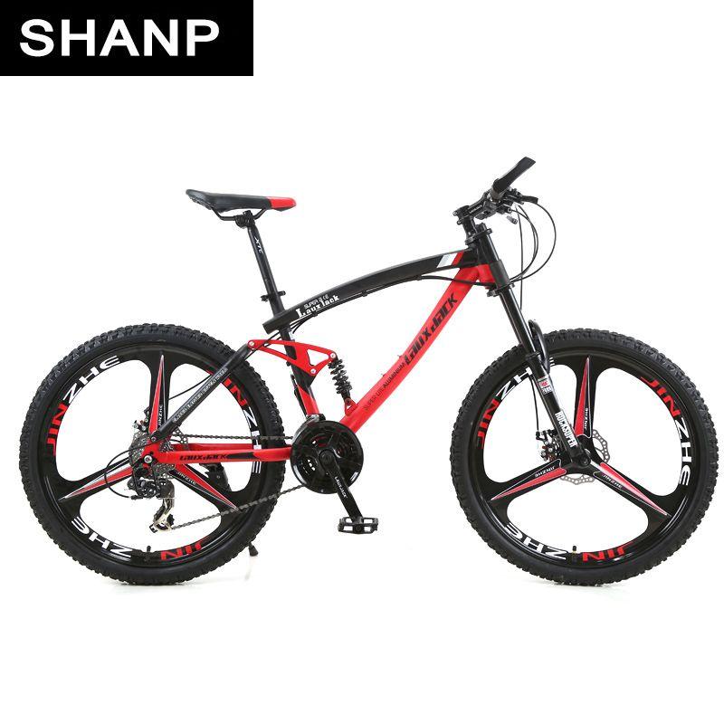 LAUXJACK Mountain Bike Steel Frame Full Suspension Frame Mechanical Disc Brake 24 Speed Shimano 26