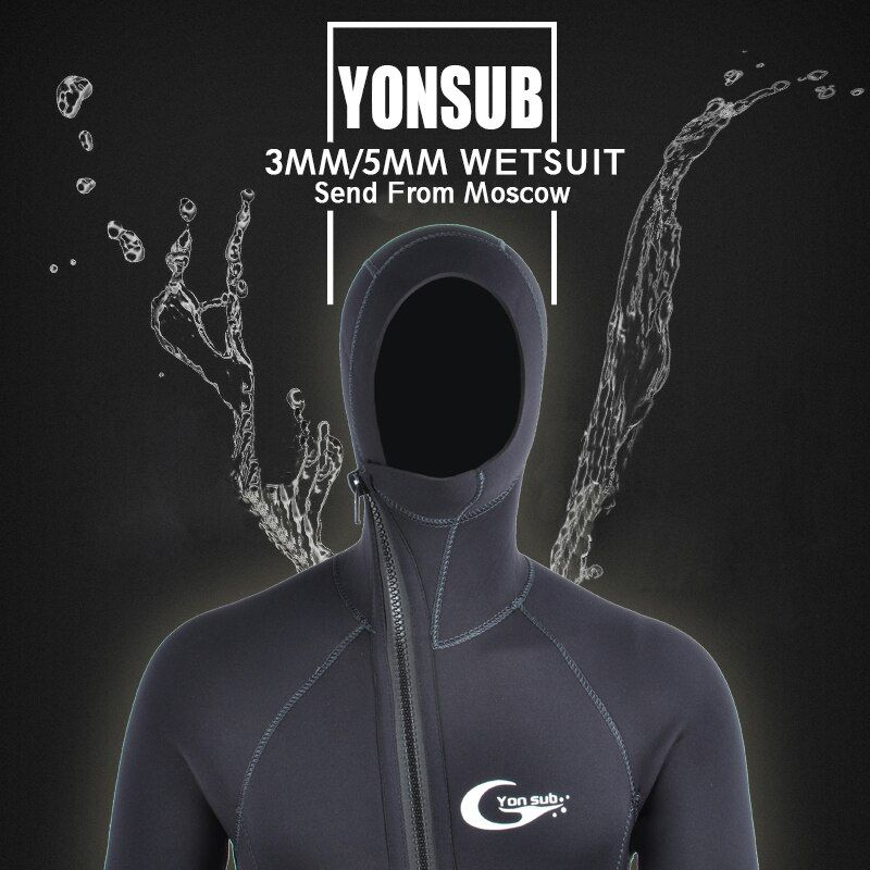 Semi-dry 3MM/5MM Front Zipper Swimsuit Neoprene Scuba Diving Wetsuit Men With Hood Underwater Hunting Spearfishing Diving Suit