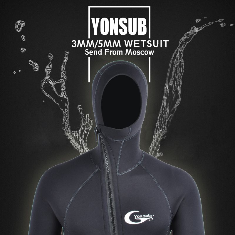 Semi-dry 5MM/3MM Front Zipper Swimwear Neoprene Scuba Diving Wetsuit Men With Hood <font><b>Underwater</b></font> Hunting Spearfishing Diving Suit