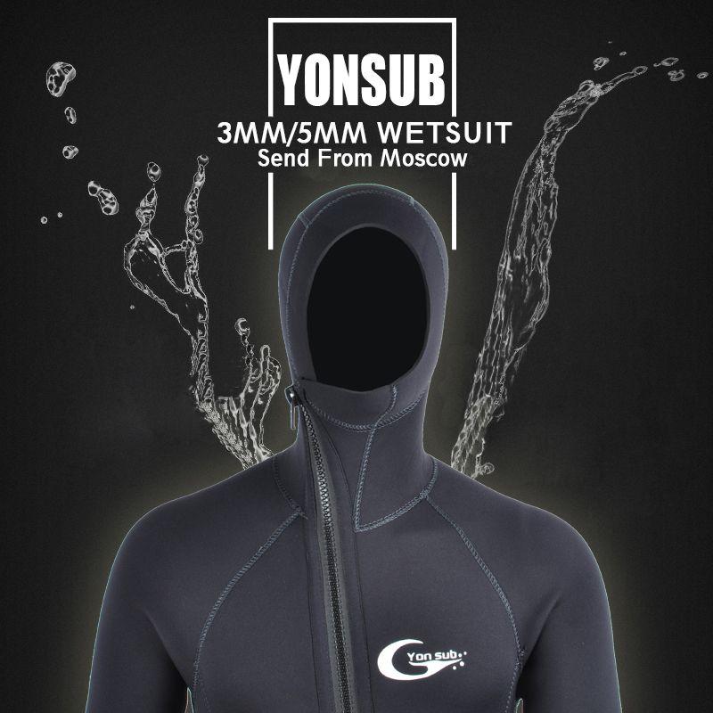 YON SUB 3MM/5MM Winter Warm Neoprene Scuba Diving Wetsuit 5mm Men Hood Surfing Front Zipper Snorkeling Spearfishing Diving Suit