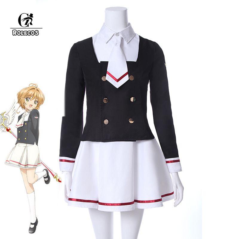 ROLECOS Cardcaptor Sakura Clearcard Cosplay Costume Kinomoto Sakura Tomoyo Daidoji Cosplay Costume School Uniform Cosplay