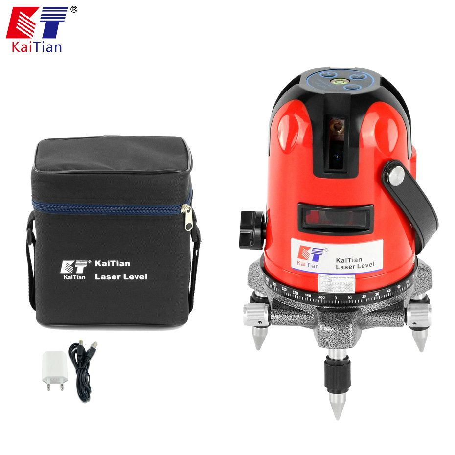 KaiTian Laser Level 5 Lines Professional Laser 635nm Slash Function Rotary Self Leveling with Receiver Horizontal Lasers Level