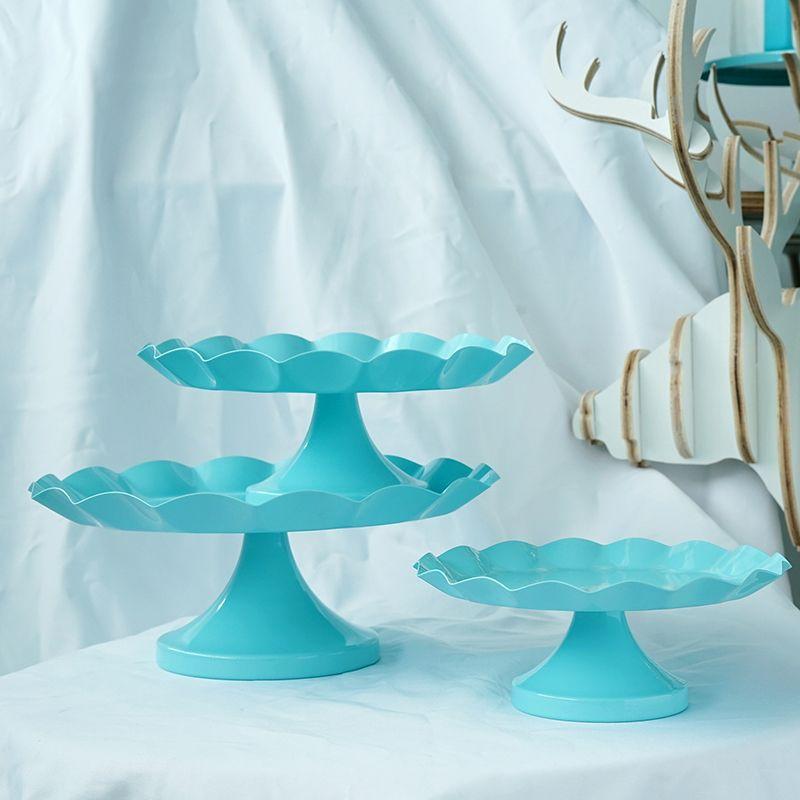SWEETGO Tiffany bleu Collation plateau support de gâteau assiette cupcake outils etanche peinture candy bar décoration pour la fête de mariage anneau plateau