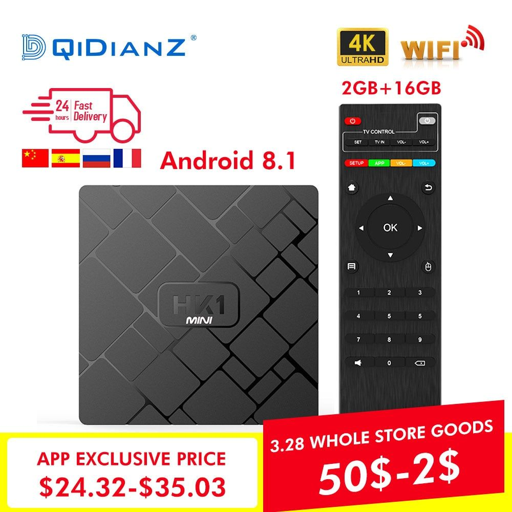 NOUVEAU, HK1 mini boîtier de smart tv Android 8.1 2 GB + 16 GB RK3229 Quad-Core WIFI 2.4G 4 K 3D HK1mini Google Netflix lecteur multimédia Set-Top Box