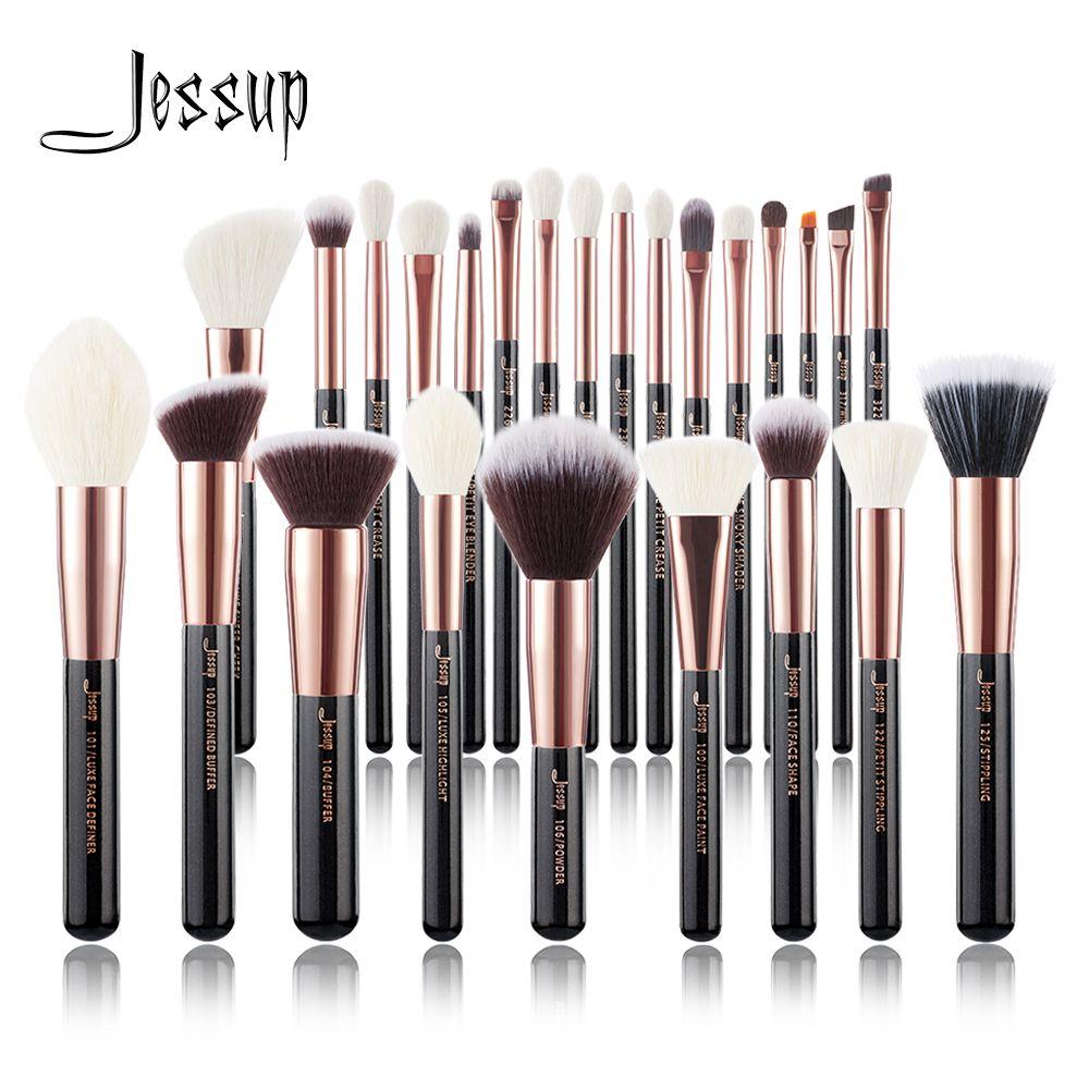 Jessup or Rose/noir pinceaux de maquillage ensemble beauté fond de teint poudre fard à paupières maquillage brosse 6 pièces/8 pièces/10 pièces/15 pièces/20 pièces/25 pièces