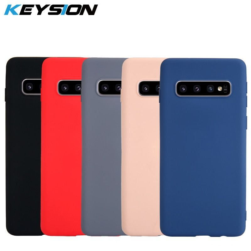 KEYSION Original Thin Liquid Silicone Case for Samsung Galaxy S10 Plus S9 S8 Gel Rubber Protective Phone Cover for S10e Note9 8
