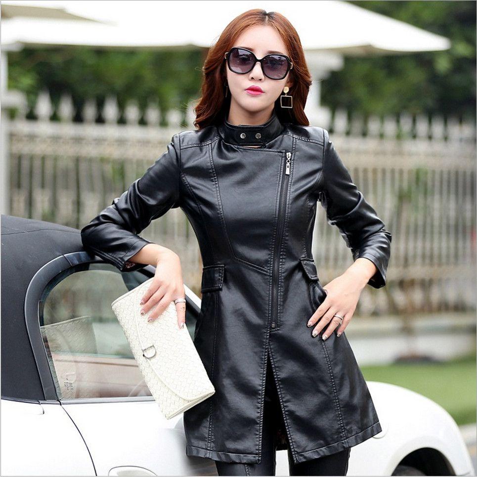 M-5XL En Cuir Manteau Veste Femmes De Mode Mince Patchwork Long Femelle Veste Haute Qualité PU Moto Automne Hiver Survêtement
