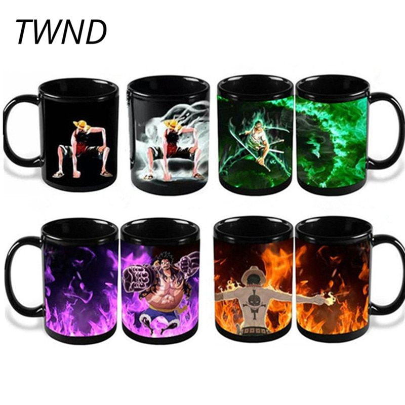 300ML Anime One Piece Magic Coffee Mugs Color <font><b>Changing</b></font> Tea Cups and Mugs Luffy Zoro Ace Mark Creative Drinkware