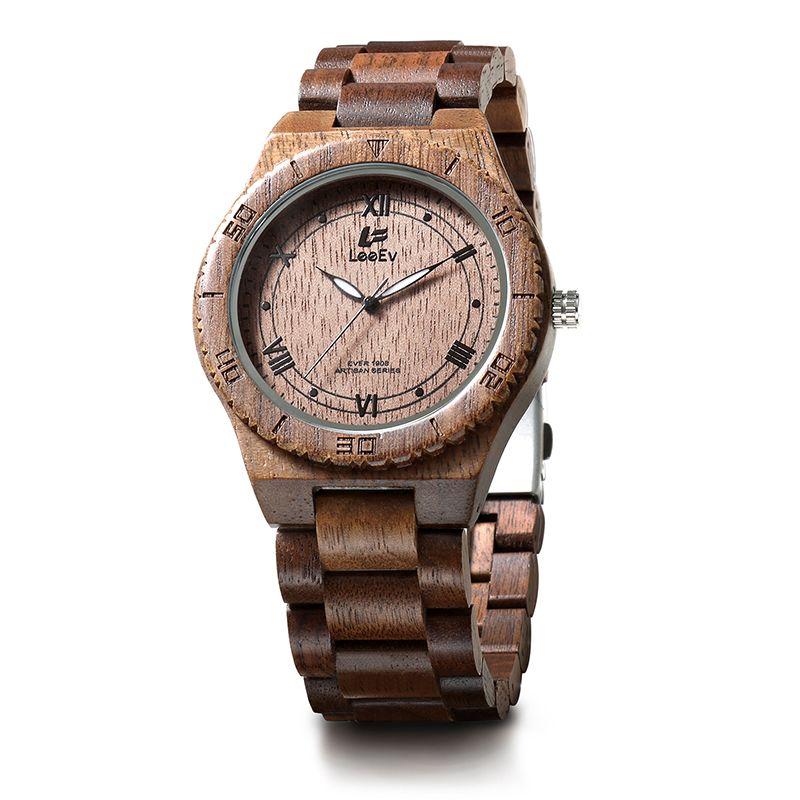 LeeEv EV1908 Mens Natural Walnut Wood Watch Analog Quartz Light Weight Vintage Wooden Wrist Watch