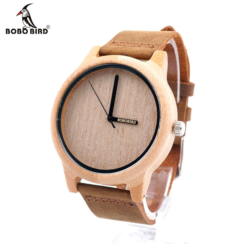 BOBO <font><b>BIRD</b></font> A22 Bamboo Wood Watch Men Simple Quartz Wristwatch 20mm Leather reloj para hombre