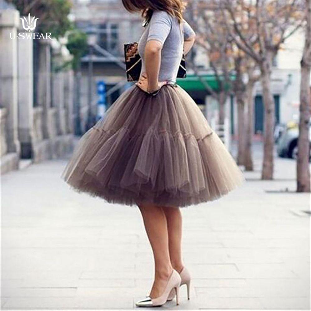 U-SWEAR hot sale classic design 5 Layers petticoat fashion style  66cm ruffle underskirt brand high quality charming Tulle Skirt