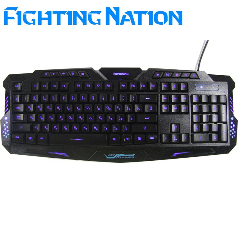 Russian version letter Layout LED 3-Color <font><b>Switch</b></font> breathing backlit backlight keyboard USB Wired Gaming gamer PC/Laptop Computer