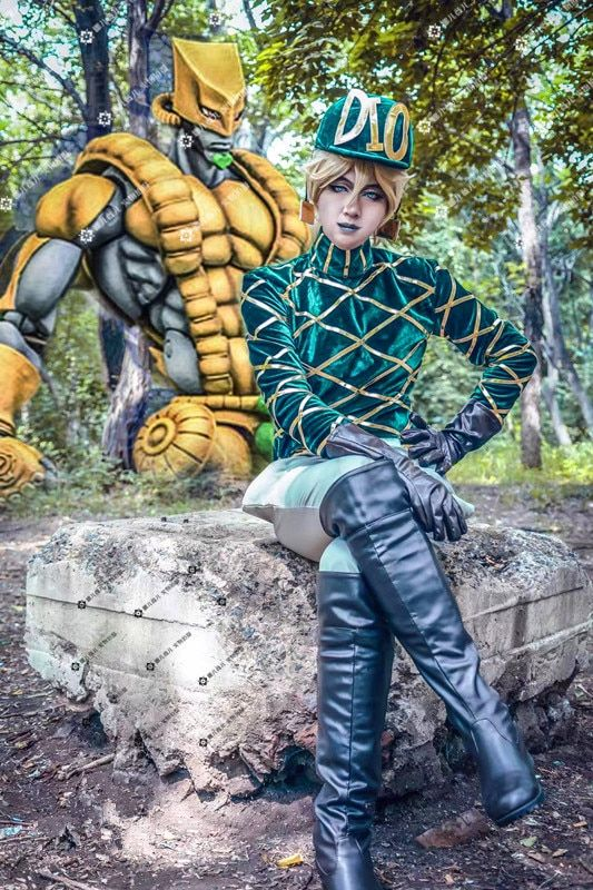 Anime! JOJO'S Bizarre Adventure Diego Green Uniform Cosplay Costume For Men Custom-made hat+top+pants+gloves+tail Free Shipping