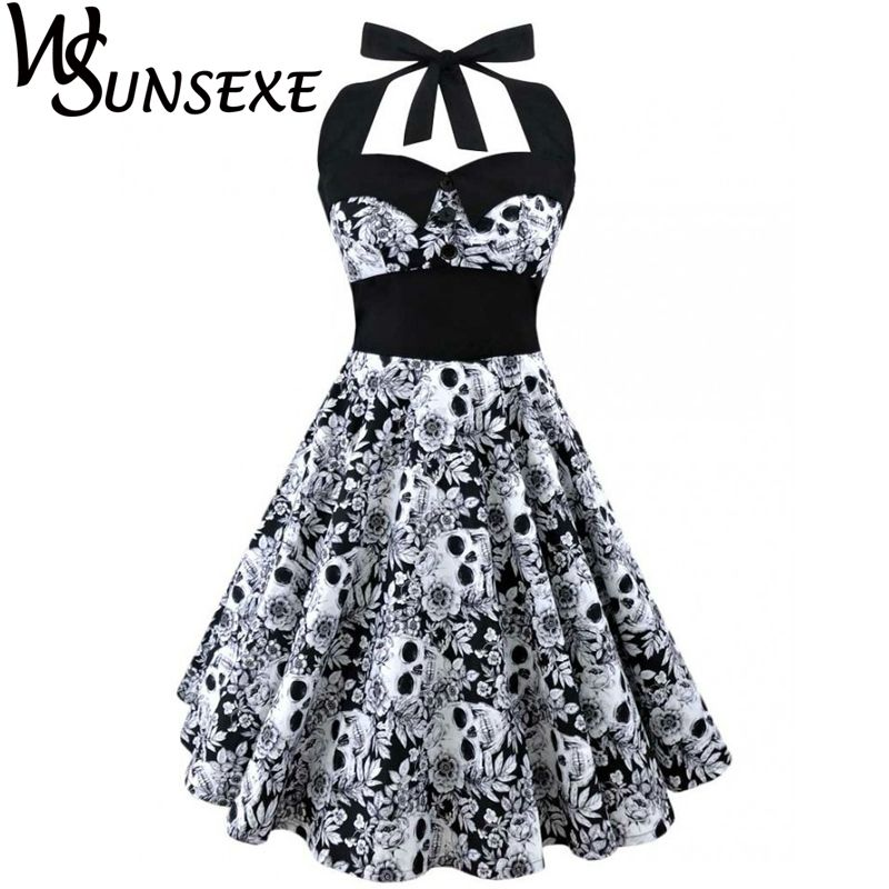 Wsunsexe <font><b>Retro</b></font> Vintage Style Sleeveless 3D Skull Floral Printed 2017 Summer Women Dress Halter Plus Size Party Sexy Casual Dress