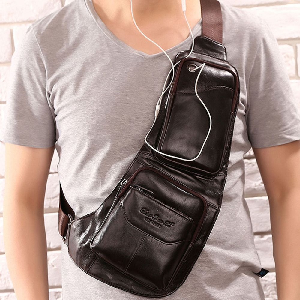 2018 Men's Waterproof Vintage Genuine Leather Travel Riding Crossbody Messenger Shoulder Sling Anti-theft Chest Casual Bag