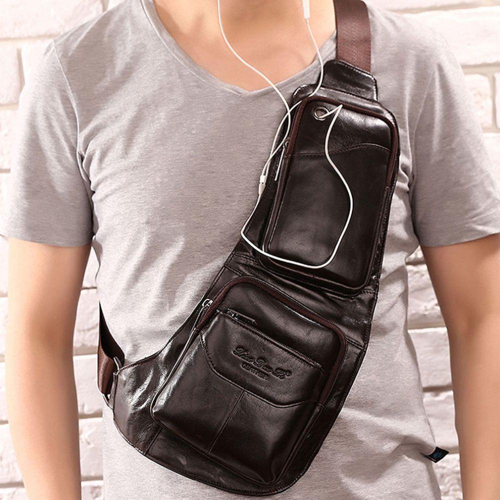 2018 Men's Waterproof Vintage Genuine Leather Travel Riding Crossbody Messenger Shoulder Sling Anti-theft Chest Casual Bag