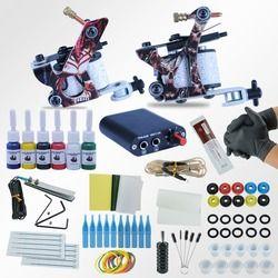 Tato Mesin Power Box Set 2 Senjata Abadi Warna Tinta Supply Jarum Aksesoris Kit Selesai Tato Permanen Makeup Kit