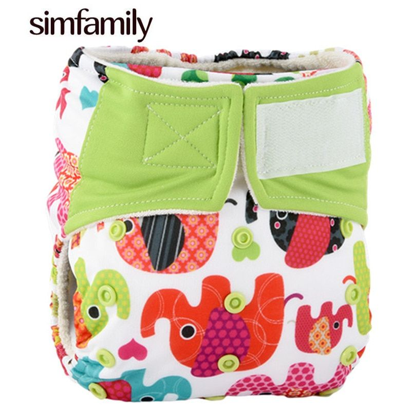 [simfamily]1Pc Reusable Waterproof Bambool AIO Baby Cloth Diaper Nappy,3-36 Months Baby Nappies,Wholesale Selling fralda diapers