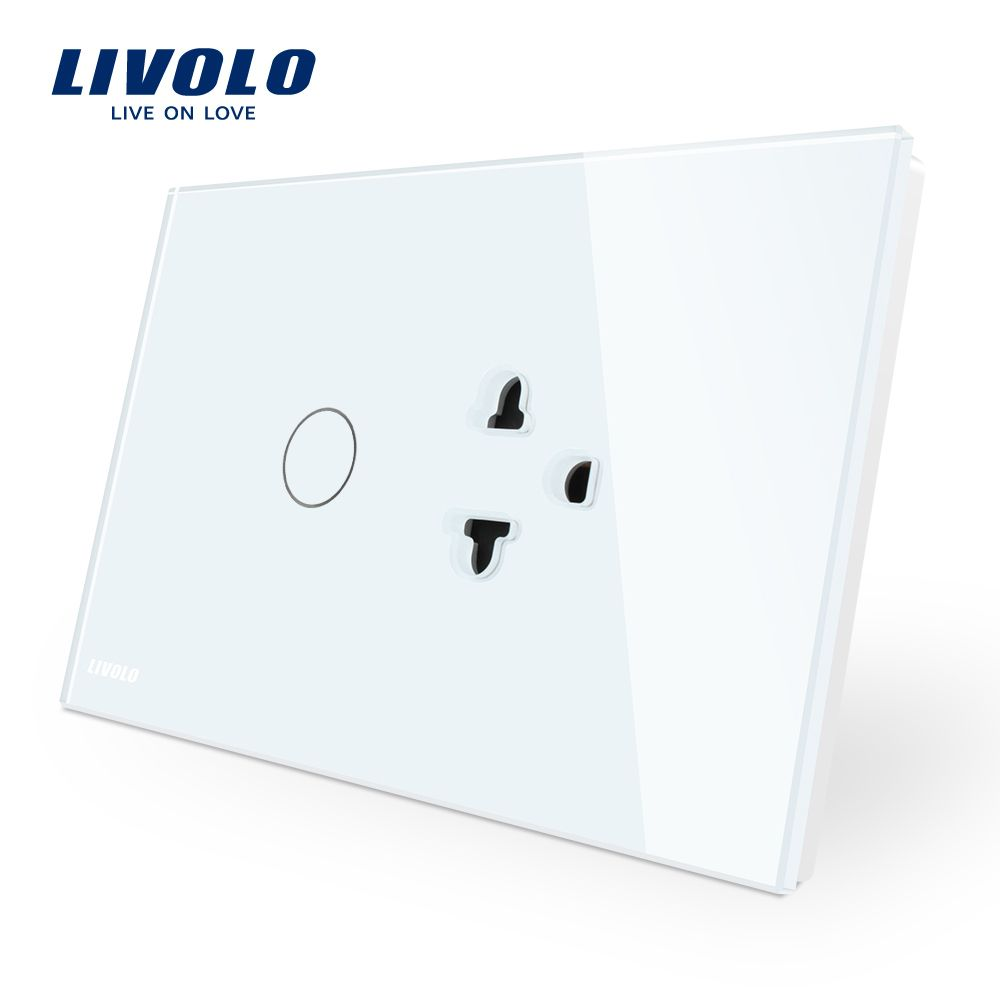 Livolo US/AU Standard Touch Switch+US Socket, with White Crystal Glass Panel, C9C1EA-11