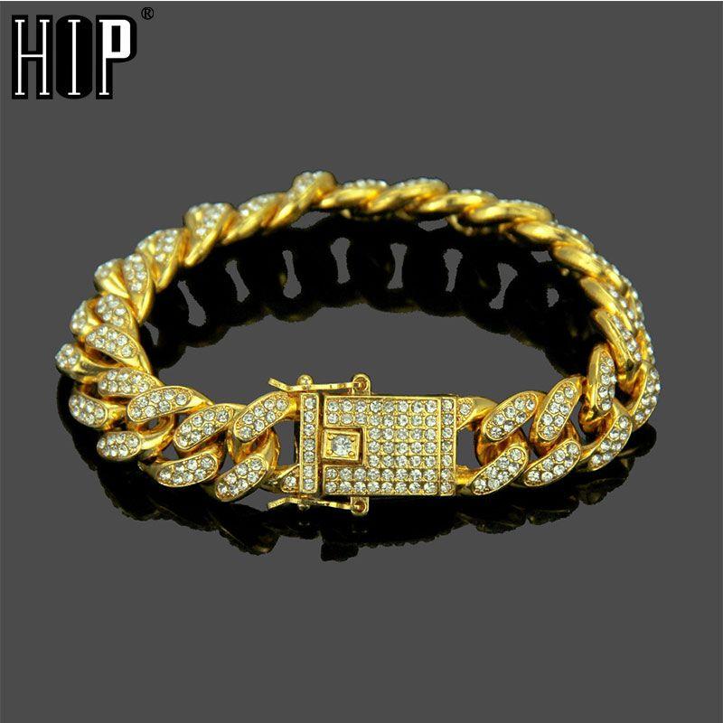 Hip hop Bling Iced Out Complet AAA Cristal Pave Hommes de Bracelet Or Argent Couleur Miami Cuban Link Chaîne Bracelets pour bijoux pour hommes