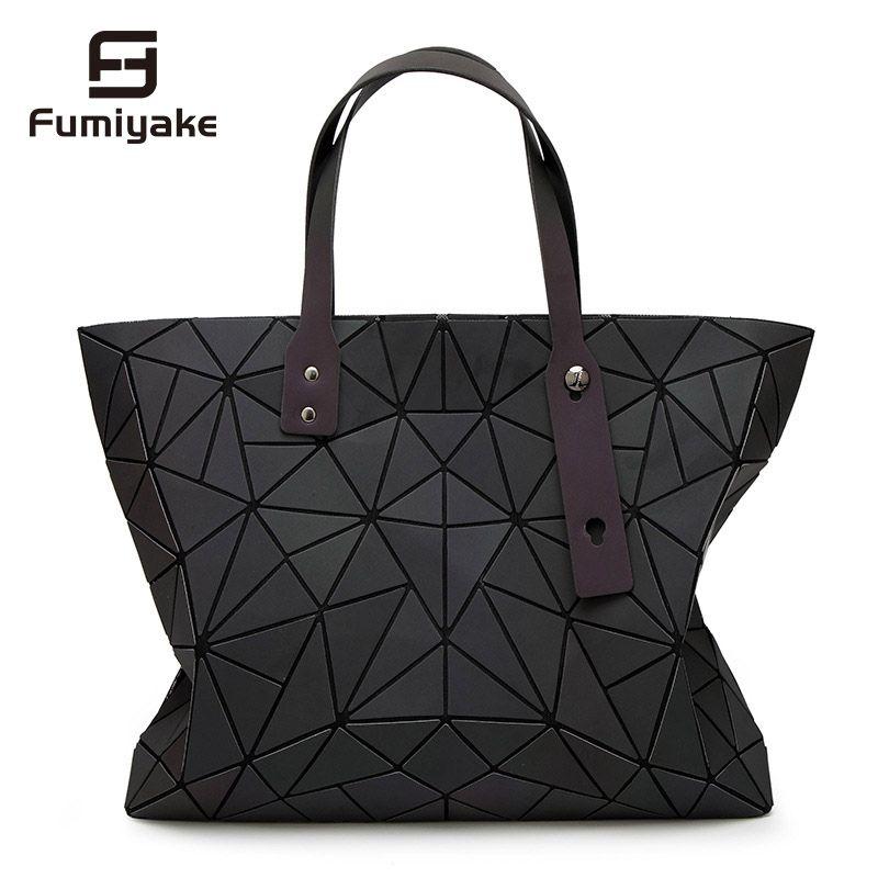 2018 neue Taschen Frauen Handtasche Geometrie Totes Pailletten Spiegel reflektierende Einfachen Klapp Schulter Taschen Luminous taschen Hologramm