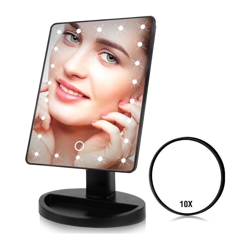 22 LED Lights Touch Screen Makeup Mirror 1X 10X Table <font><b>Desktop</b></font> Countertop Bright Adjustable USB Cable Or Batteries Use 16 Lights