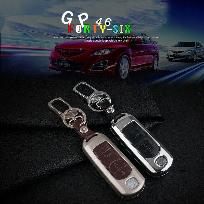 Zinc Alloy Leather Car Remote Key Case Cover For Mazda 2 3 6 Axela Atenza CX-5 CX5 CX-7 CX-9 2015 2016 2017 Smart 2/3 Buttons