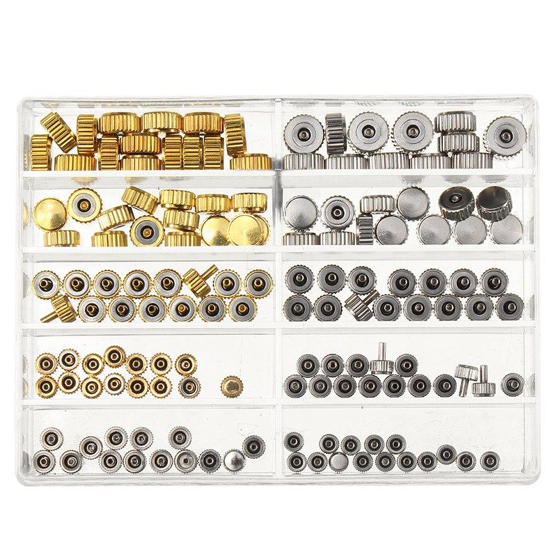 Waterproof Watch Crown Parts Replacement Assorted Gold & Silver Dome Flat Head Watch Accessories Repair Tool Kit for Watchmaker