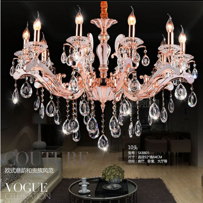 modern crystal chandelier candle holder chandelier for foyer rose gold diningroom livingroom childern tube chandeliers light