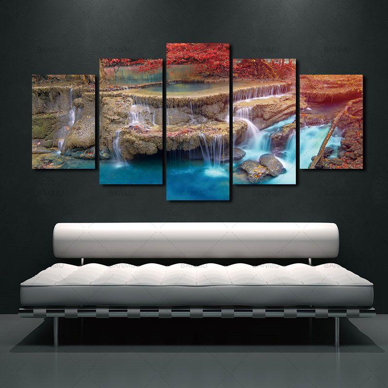 BANMU paysage toile peinture mur Art décoration de la maison Art affiche érable arbres modulaires photos peinture sur le mur