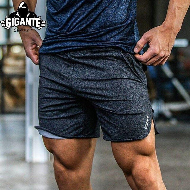 mens shorts beach new men's board shorts ECHT workout zipper pocket sweat bodybuilding 2018 Quick dry