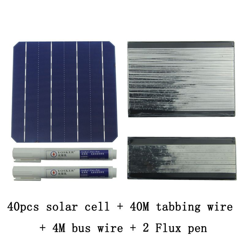 40Pcs Monocrystall Solar Cell 6x6 With 60M Tabbing Wire 6M Busbar Wire and 3Pcs Flux Pen