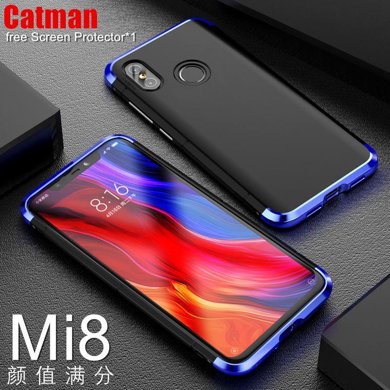 xiaomi mi 8 case based snapdragon 845 core phone shell luxury Aviation aluminum metal bumper with matte plastic back cover mi8
