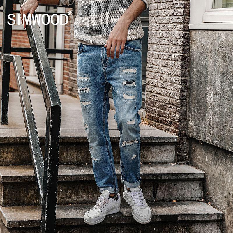 Simwood 2018 Весна Джинсы для женщин Для мужчин Slim Fit Модные рваные джинсовые Мотобрюки брендовая одежда nc017005