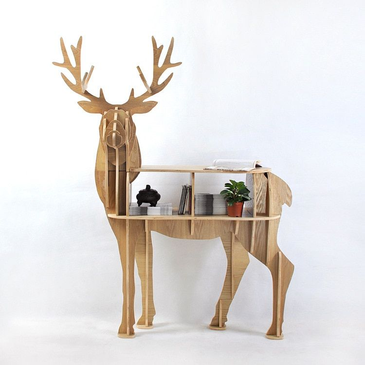 New design European 100% birch wood elk edge table deer shape furniture animal rack ornaments home decorations free shipping