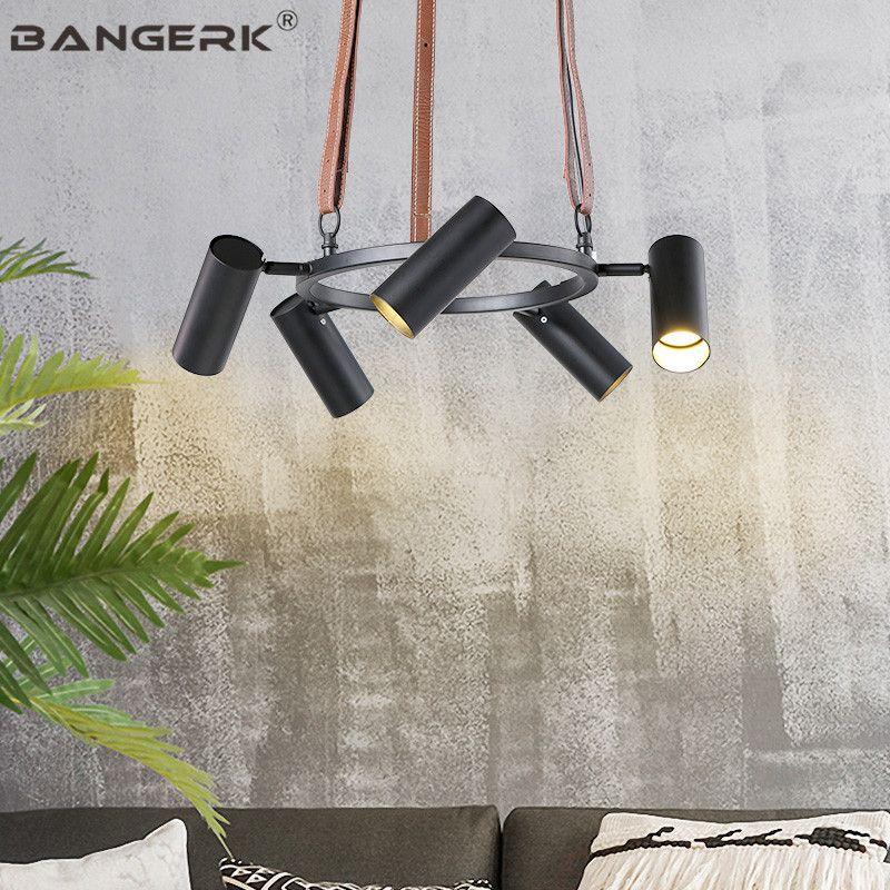 Nordic Design Rotating Lamps Modern LED Pendant Lamp Iron Loft Leather Hanging Lights Home Decor Luminaire Indoor Lighting