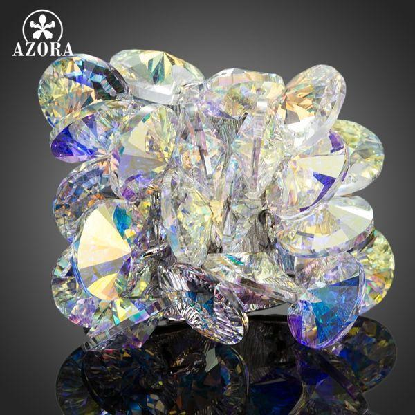 AZORA Fascinant Fleur Conception Avec Couleur Gradient Stellux Cristal Autrichien Réglable Taille Anneau TR0133