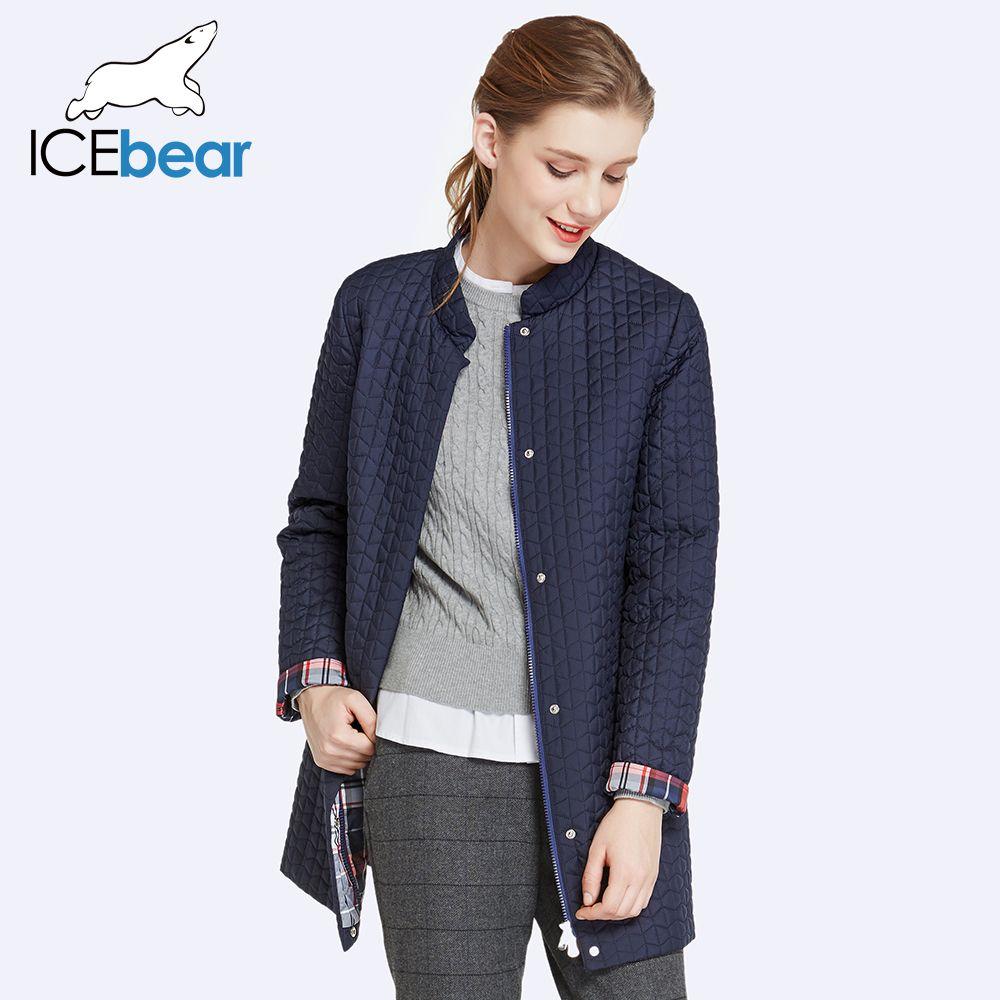 ICEbear 2018 Inside Zipper Pocket Designed Cotton Padded Jacket In Womens Parkas Long Thin Women's Coats Round Collar 17G270D