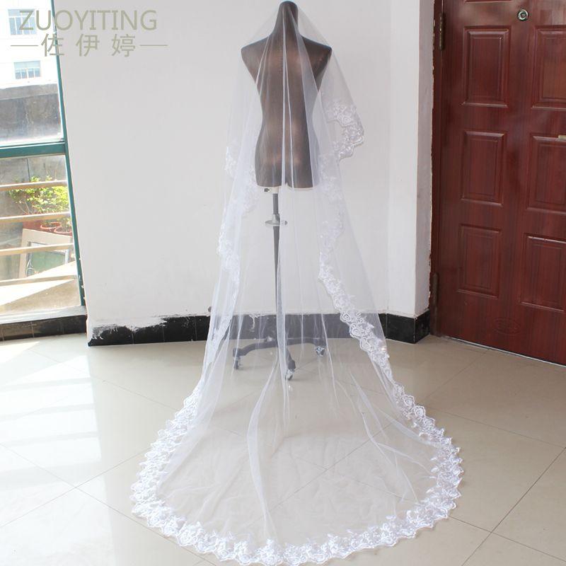 ZUOYITING 2017 Appliques Tulle Long Cathedral Wedding Veil Lace Edge Bridal Veils veu de noiva longo Wedding Accessories